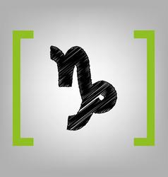 Capricorn sign black vector