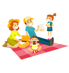 Caucasian white family having a picnic in the park vector