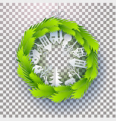 Christmas decorated green paper wreath vector