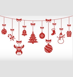 christmas red ornaments hanging merry christmas vector image