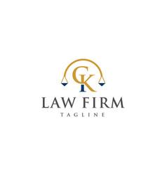 ck law logo design vector image