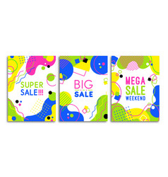 colorful 80s neon shape sale template poster set vector image