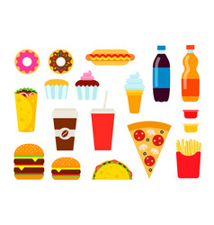 colorful fast food set in flat style vector image