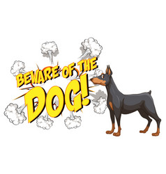 Comic speech bubble with beware dog text vector