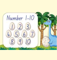 count number from one to ten dinosaur theme vector image