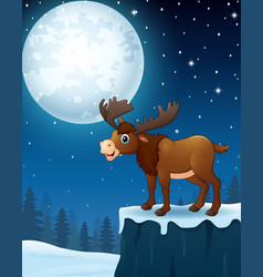 Cute moose cartoon in the winter night background vector