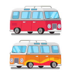 Cute travel bus icons colorful vector