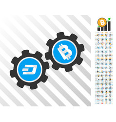 Dash bitcoin gears flat icon with bonus vector