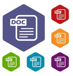 Doc rhombus icons vector