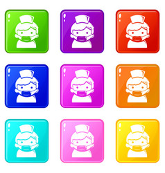 doctor icons set 9 color collection vector image