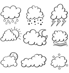 Doodle of cloud style set vector