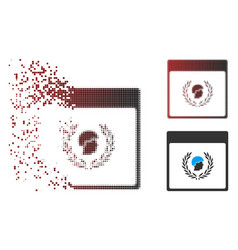 Dust pixel halftone soldier laurel wreath calendar vector