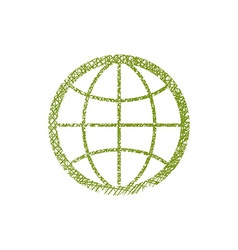 Earth simplistic icon with hand drawn lines vector