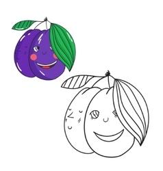 Educational game coloring book plum fruit vector