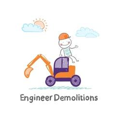 Engineer Demolitions sits on the excavator vector image
