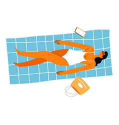 female character laying on blanket tanning on sun vector image