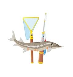 Fishing rod net and sturgeon vector