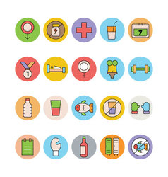Fitness and health colored icons 7 vector