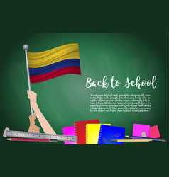Flag of colombia on black chalkboard background vector