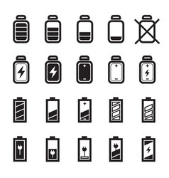 flat battery icons set vector image