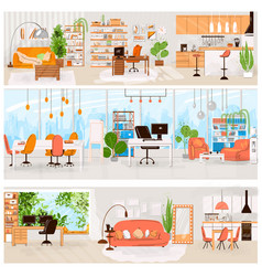 flat set home and office interior vector image