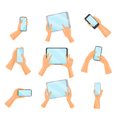 flat set of human hands with smartphones vector image