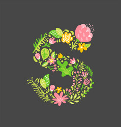 floral summer letter s flower capital wedding vector image