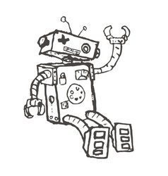hand drawn brocken robot isolated on white vector image