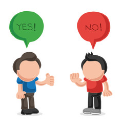 Hand-drawn cartoon of two men arguing yes no in vector