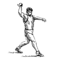 Hand sketch athlete ball thrower vector