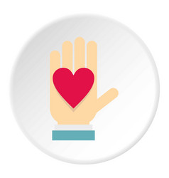 hand with heart icon circle vector image