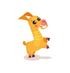 happy llama alpaca cartoon character having fun vector image