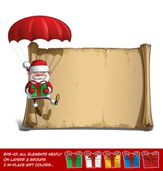 Happy Santa Scroll Parachute Holding a Gifts vector image