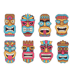 Hawaiian mask of tiki god wooden african vector