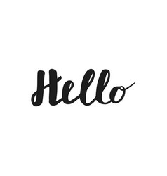 hello hand lettering greeting card with modern vector image