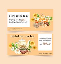 Herbal tea voucher design with chrysanthemum vector