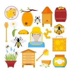 Honey Icons Set with Bee Beekeeper Honeycomb vector image