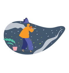 human in raincoat walking with umbrella in bad vector image