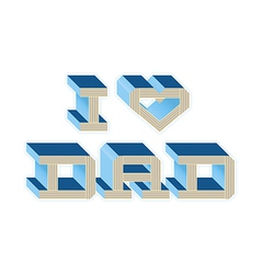 I Heart Dad - Blue vector image