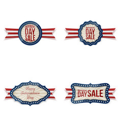 Independence day realistic badges set vector
