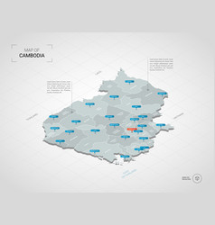 Isometric cambodia map with city names and vector