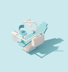Isometric low poly dental chair vector