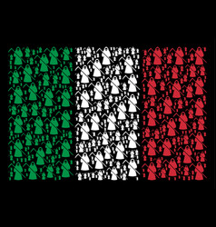 italy flag mosaic of death scytheman items vector image