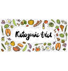 Ketogenic diet sketch banner vector