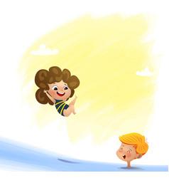 Kid swimming vector