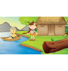kids and a boat vector image