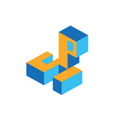 Letter s and p isometric vector
