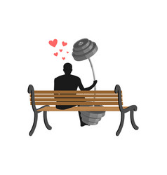 Lover fitness man and barbell sitting on bench vector