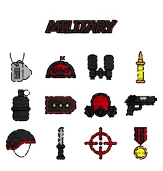 Military flat icons set vector