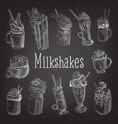 Milkshake and ice cream hand drawn doodle vector